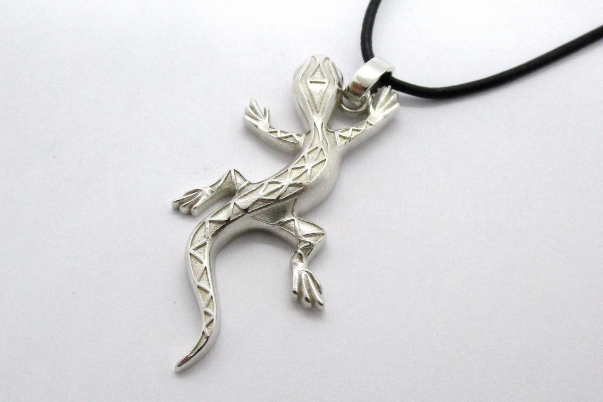 Anhanger Silber Gecko Lederband  - Wien