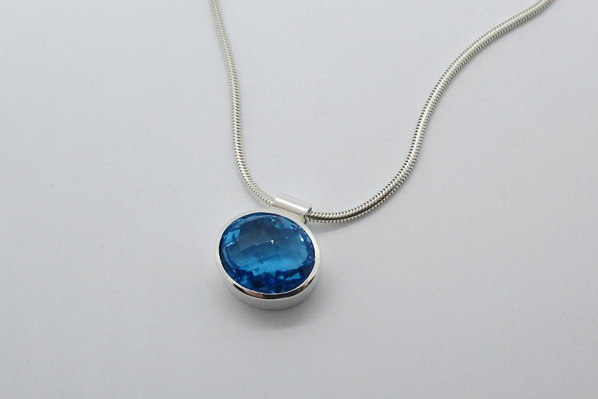 Anhanger Silber Topas swiss blue  - Wien