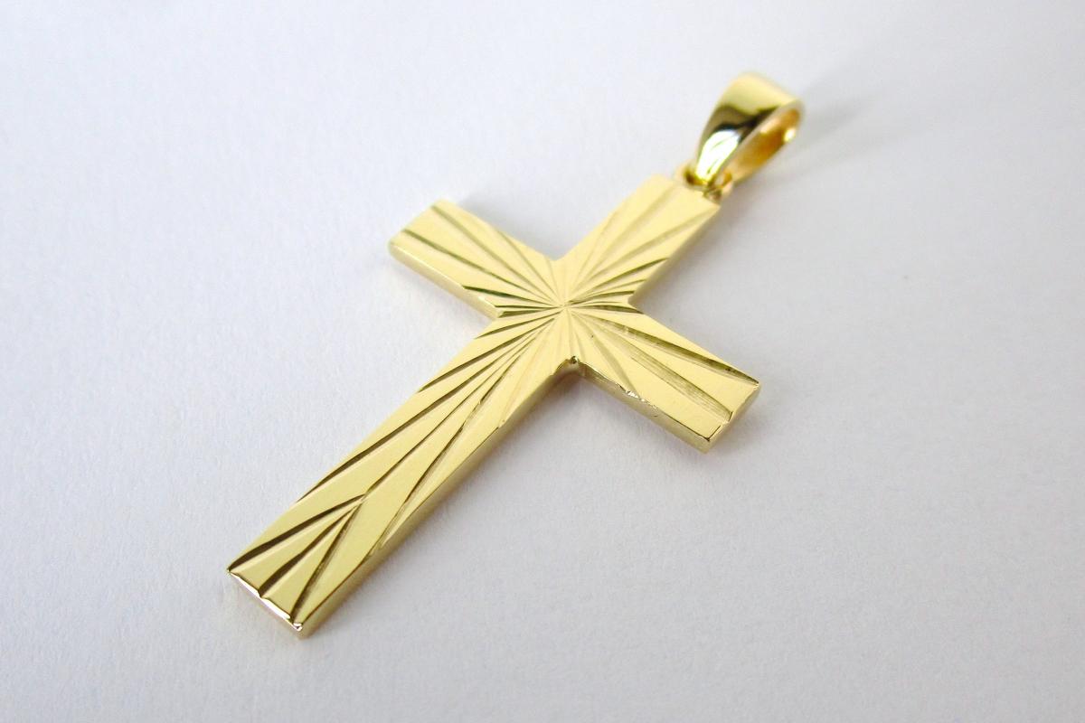 Anhanger Gelbgold Kreuz graviert  - Wien