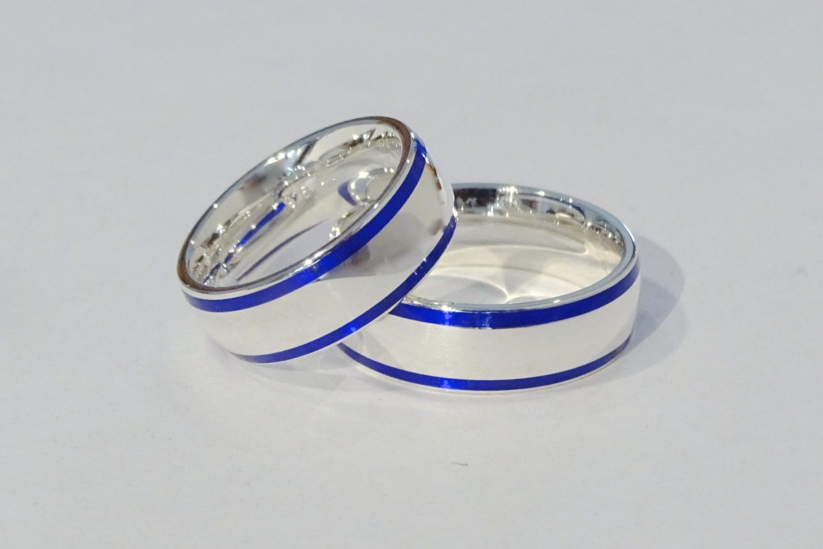 Eheringe Silber Colorit blau  - Wien