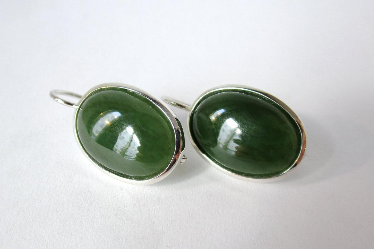 Ohrringe Ohrgehänge Silber Jade  - Wien