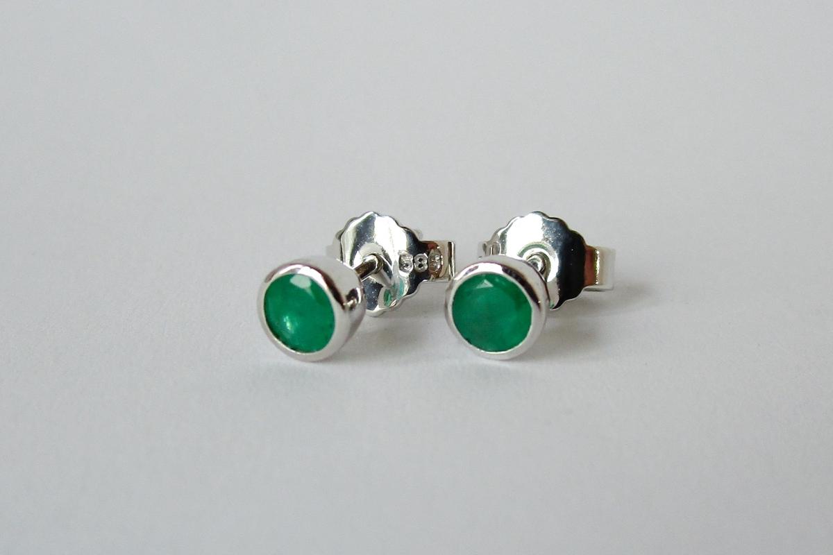 Ohrringe Ohrstecker Weißgold Smaragd  - Wien