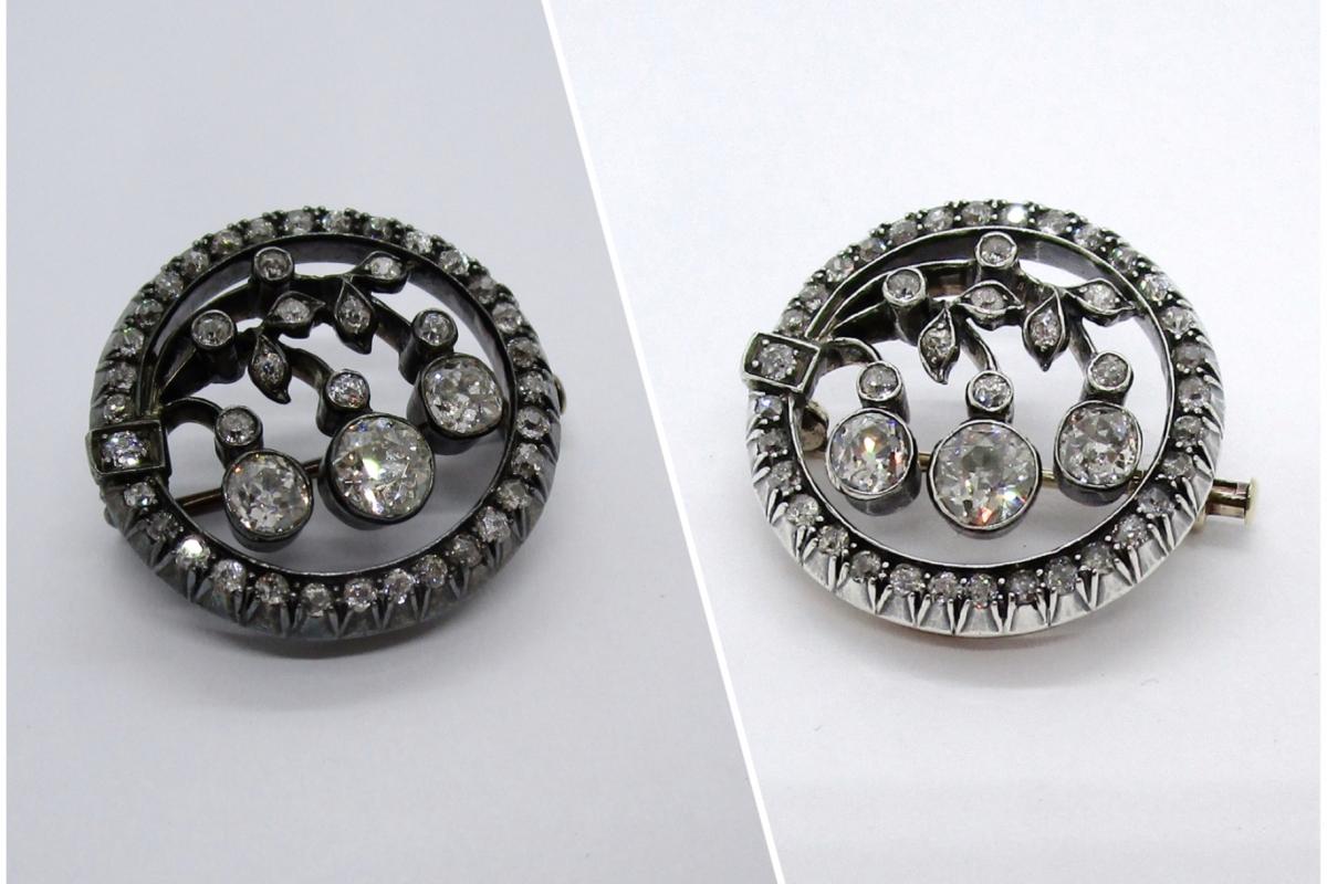 Reinigung_Brosche_antik_Altschliff_Diamanten_Collage  Reinigung antike Brosche mit Altschliff-Diamanten