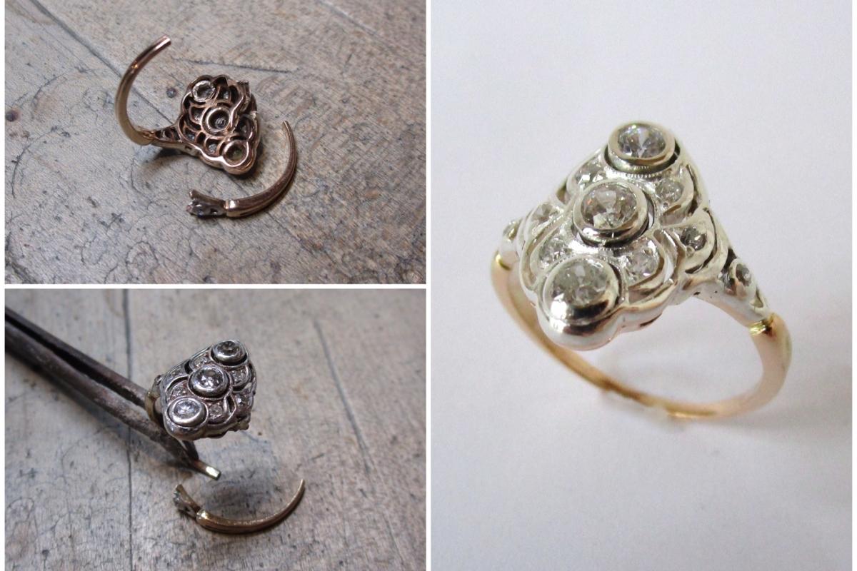 Reparatur_ArtDeco_Ring_Collage  Reparatur antiker Art Deco-Ring
