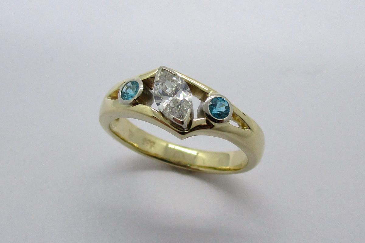 Ring Gelbgold Weißgold Diamant Navette Paraiba Turmalin  - Wien