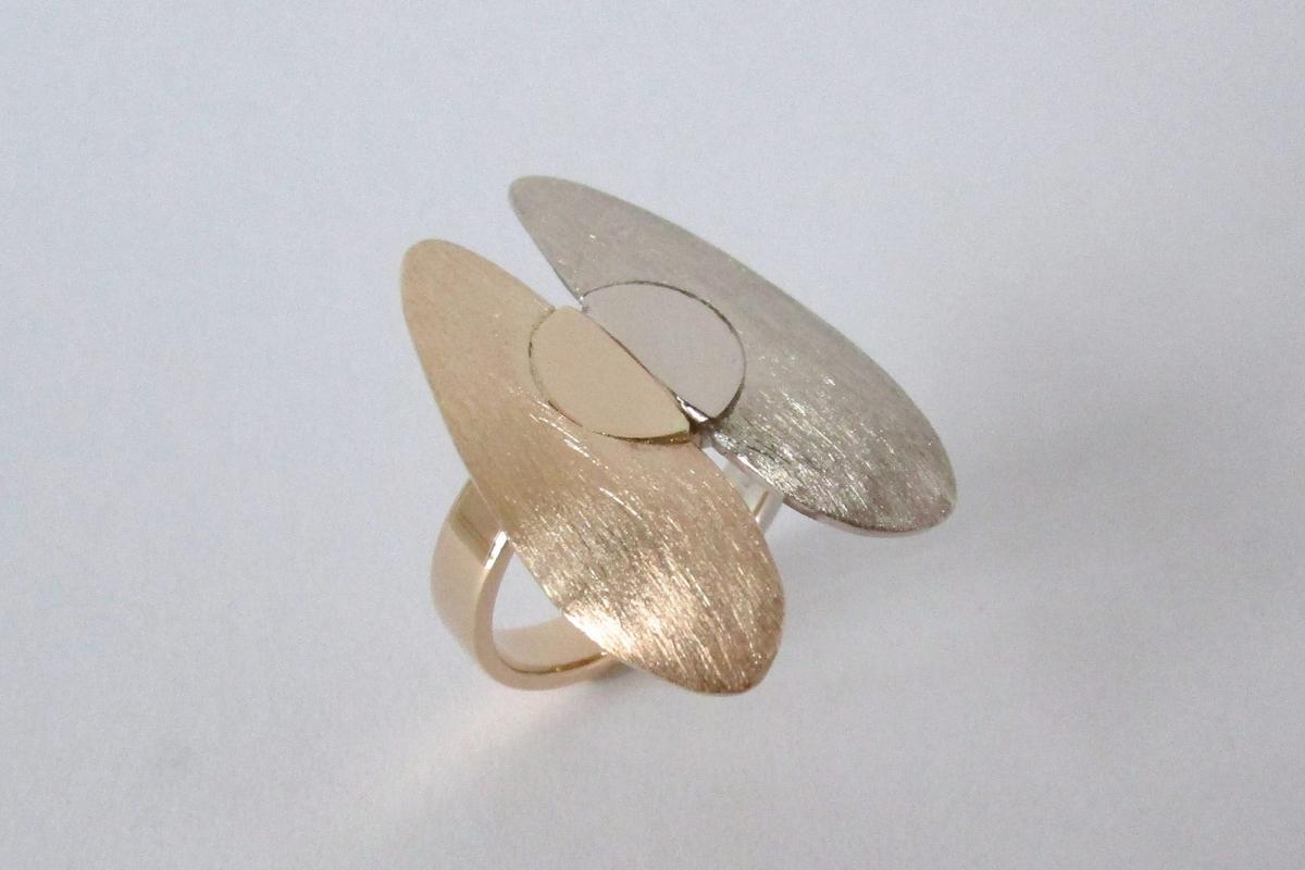 Ring bicolor Rosegold Weißgold Hinkelsteine  - Wien