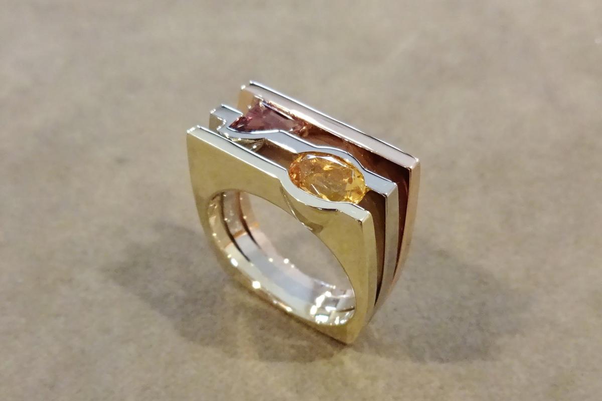 Ring Fächerring tricolor Turmalin Citrin  - Wien