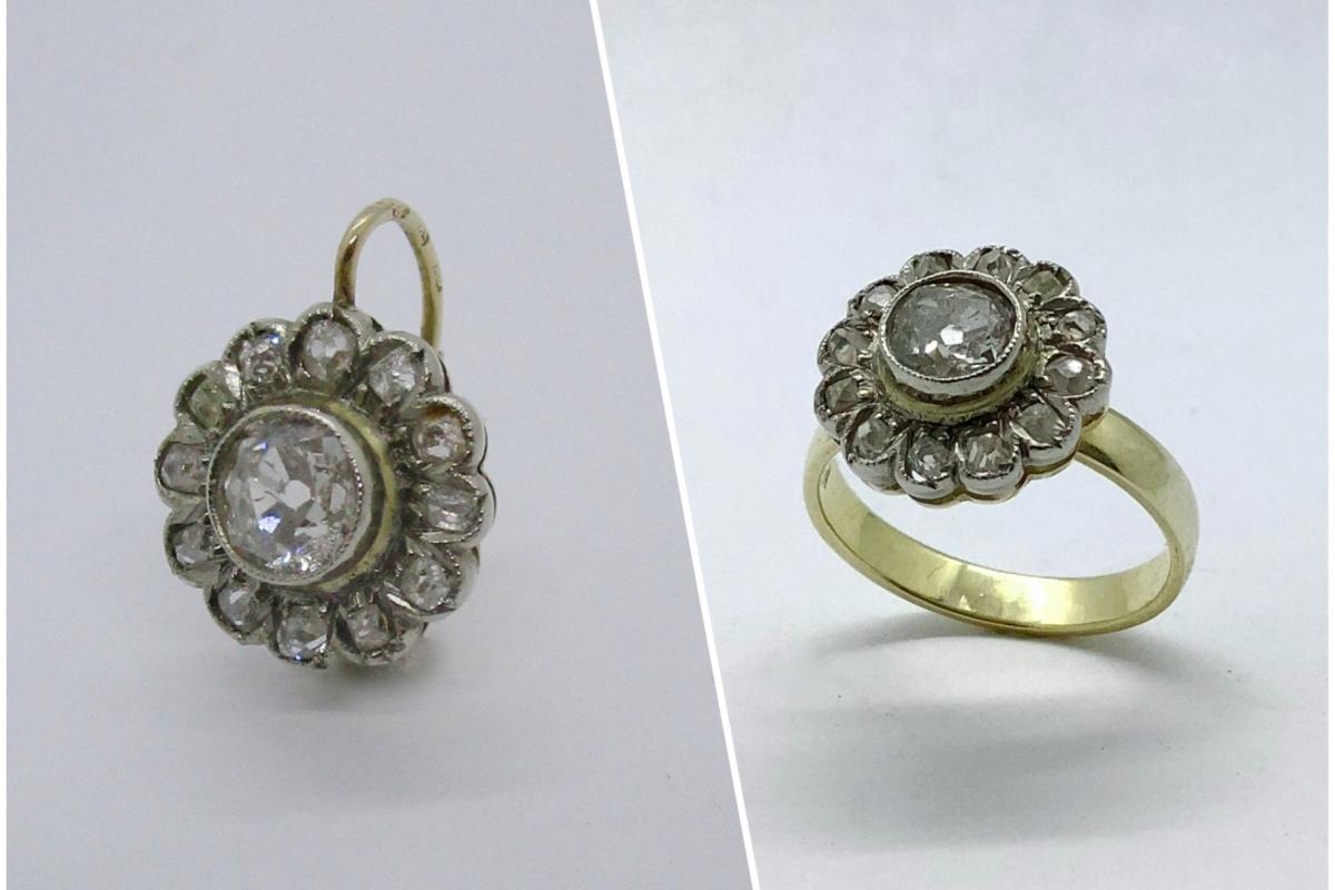 Umarbeitung_Ohrring_Ring_Collage  Umarbeitung alter einzelner Ohrring zu Ring